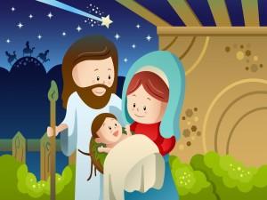 La Sagrada Familia en Nochebuena, Jesús, María y José