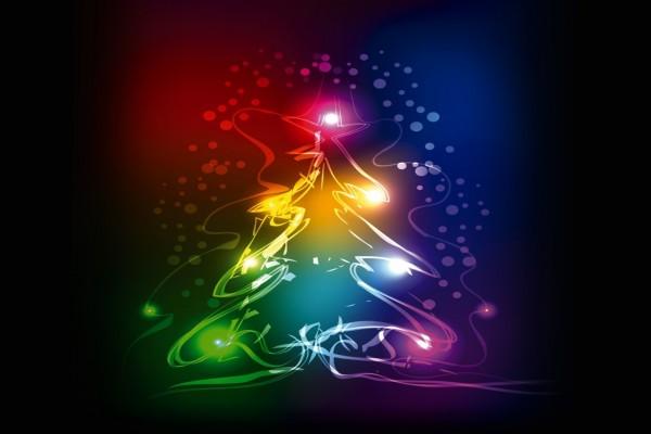 Árbol de Navidad con luces y colores resplandecientes
