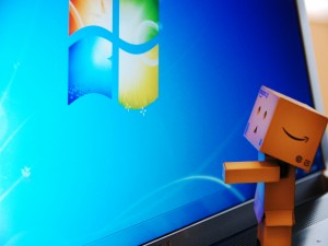 Postal: Danbo observando el logo de Windows