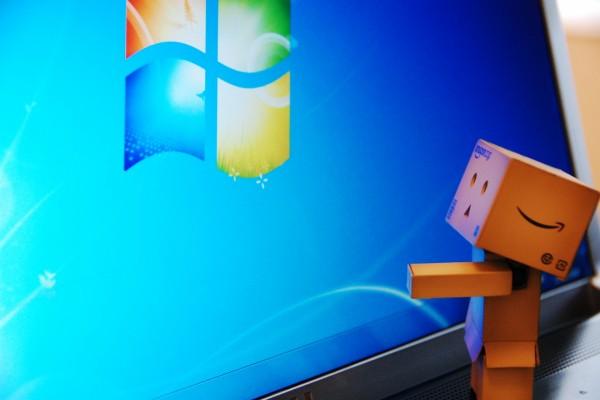Danbo observando el logo de Windows