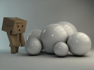 Grandes bolas blancas junto a Danbo
