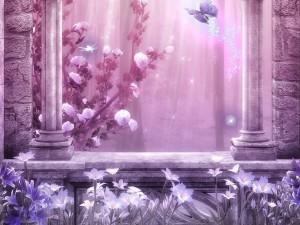 Mariposa mágica junto a una ventana con bellas flores