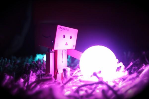 Danbo junto a una bola de luz