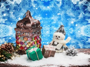 Postal: Adornos decorativos para Navidad