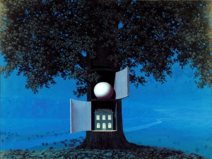 Postal: Casa en el tronco de un árbol mágico