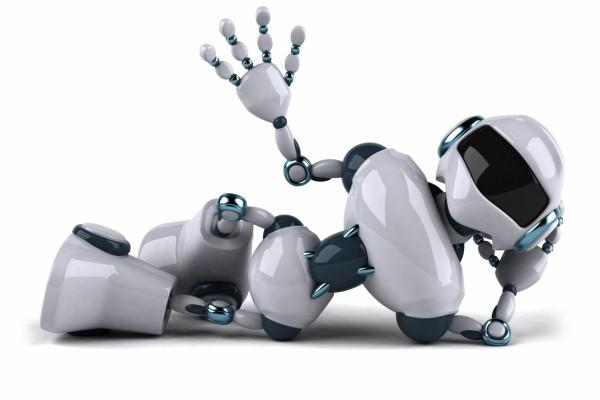 Un cómodo robot saludando