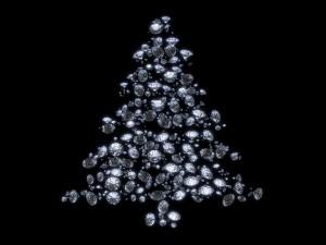 Postal: Brillante árbol de Navidad en fondo negro