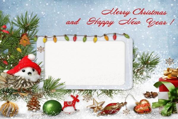 Tarjeta con adornos y mensaje navideño