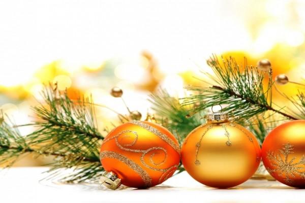 Bolas doradas y ramitas de pino para adornar en Navidad