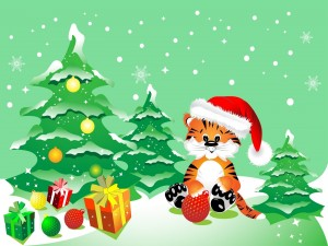 Postal: Un tigre junto a los regalos y árboles de Navidad