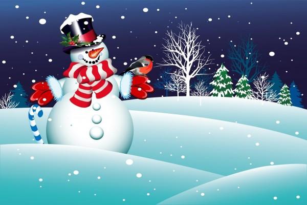 Hermoso muñeco de nieve con un pajarillo
