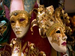 Postal: Máscaras del carnaval de Venecia