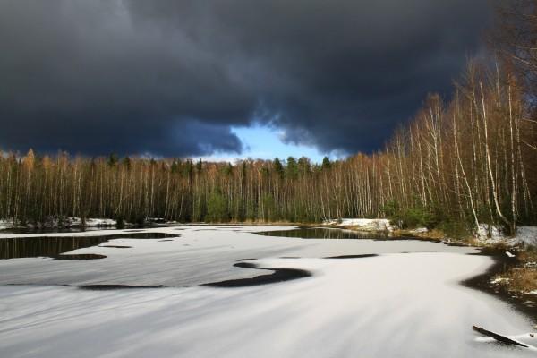 Capa de hielo sobre un lago