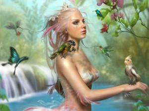 Mujer rodeada de aves