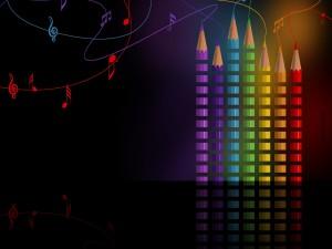 Notas musicales saliendo de unos lápices de colores
