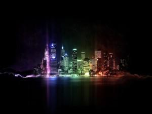 Postal: Luces de neón en la noche de una ciudad