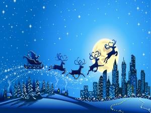 Postal: Papá Noel repartiendo regalos en la noche de Navidad