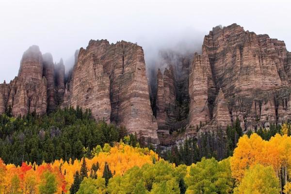 Árboles otoñales junto a las grandes rocas