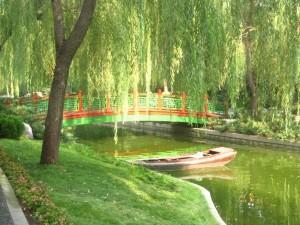 Postal: Puente oriental sobre un río
