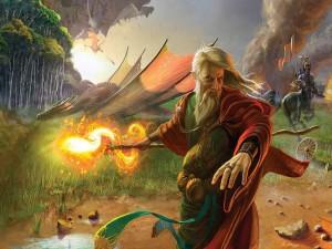 Postal: Dragones junto a un chamán