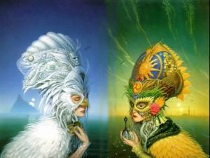 Mujeres con bellas máscaras
