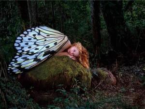 Postal: Hada con grandes alas de mariposa