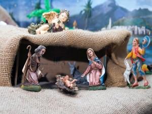 Postal: Representación del nacimiento del niño Jesús