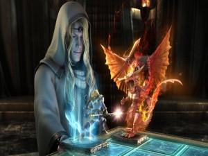 Postal: Maga visionando la futura guerra de los dragones contra los hombres