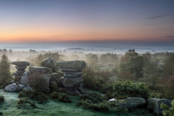 Piedras y árboles en un bello entorno natural