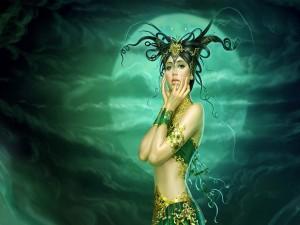 Bella mujer en una noche mágica