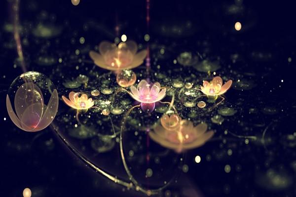 Flores brillantes en la oscuridad