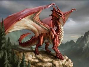 Dragón rojo sobre un acantilado
