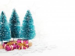 Postal: Regalos bajo unos pinitos navideños