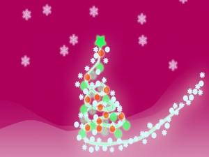 Postal: Un vistoso árbol de Navidad en un fondo fucsia