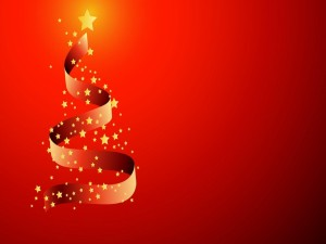 Cinta formando un árbol de Navidad con estrellas luminosas