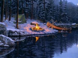 Postal: Campamento en invierno