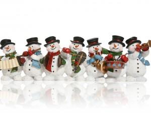 Postal: Muñecos de nieve con instrumentos musicales