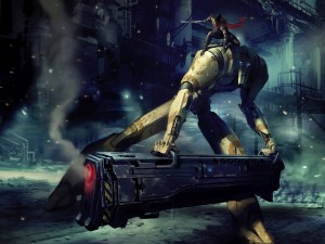 Mujer luchando junto a un gran robot