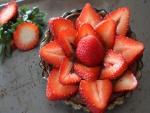 Tartaleta de chocolate y fresas