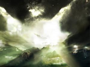 Postal: Luz, tormenta y lluvia de estrellas en un cielo sobre las montañas