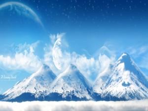 """Postal: Grandes montañas en """"Un mundo de ensueño"""""""