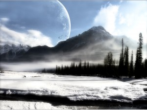 Postal: Planeta tras la montaña