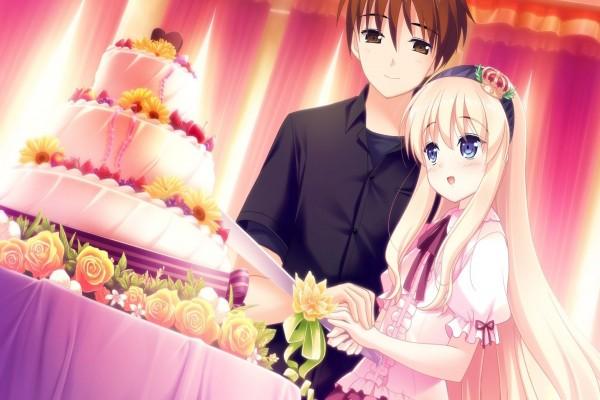 Chicos anime festejando su boda