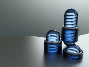Muelles dentro de cápsulas azules