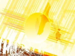 Espada en alto hacia el brillante sol
