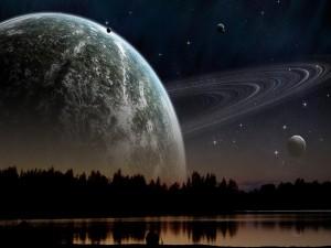 Admirando el espacio desde un lago