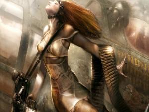 Mujer aviadora armada