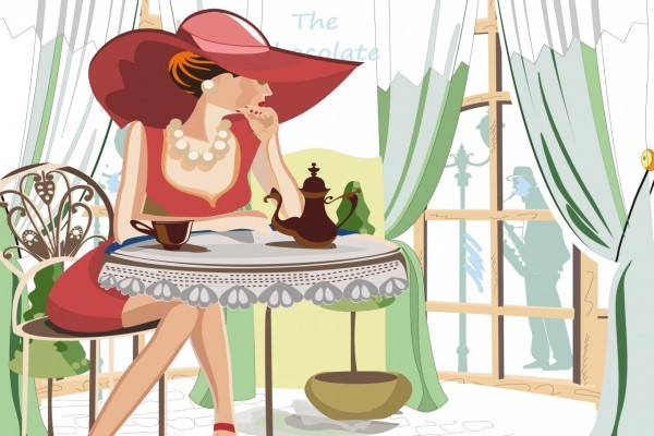 Una mujer pensativa tomando el té