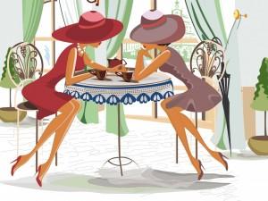 Postal: Mujeres tomando té y conversando animadamente