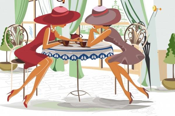Mujeres tomando té y conversando animadamente